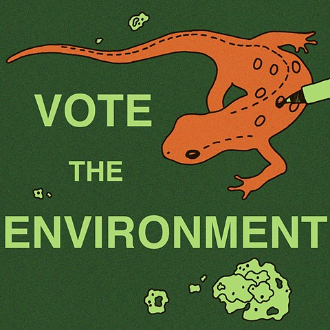 Vote Efts red eft voting poster by Chelsea Clarke for Creative Action Network Vote the Environment campaign