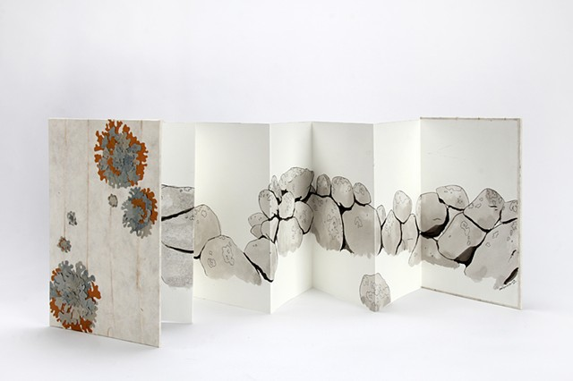 a handbound accordion artist book with a drawing of a stonewall and paper lichen on the cover, collaboration by Chelsea Clarke and Ruth Bleakley