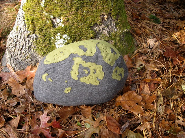stone shaped wool rock pillow with hand applique and embroidered lichen