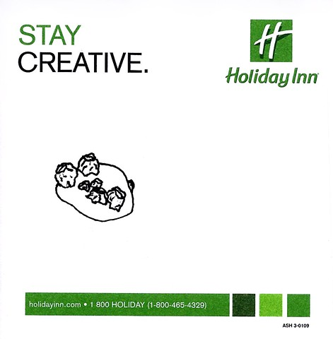 pen and ink drawing of barnacles on a rock on holiday inn promotional post it note by Chelsea Clarke