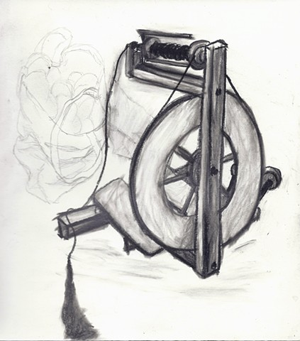 soft and smudgy graphite drawing of a foot powered spinning wheel by chelsea clarke