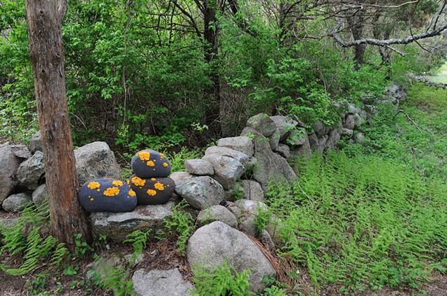 soft sculpture lichen covered stone pillows, woodland decor by chelsea clarke