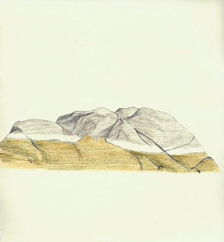 seaside artwork colored pencil drawing of tidal rocks with seaweed in Deer Isle, Maine by Chelsea Clarke