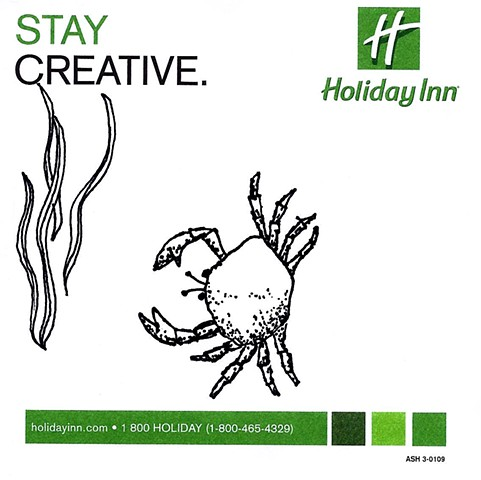 pen and ink drawing of a crab on holiday inn promotional post it note by Chelsea Clarke