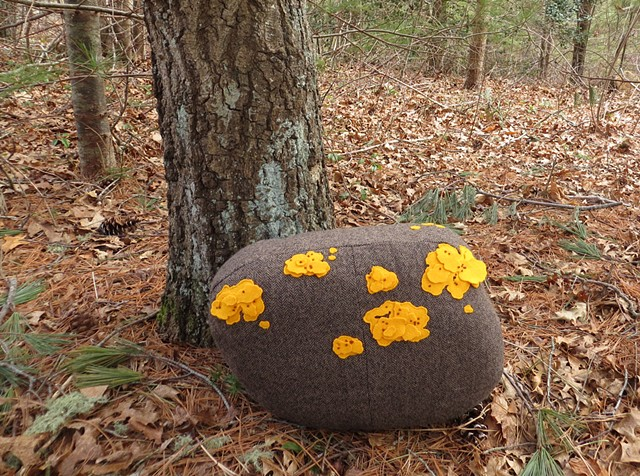 soft sculpture, stone shaped wool pillow with applique and embroidered yellow lichen by Chelsea Clarke. Art pillow made of repurposed wool suits