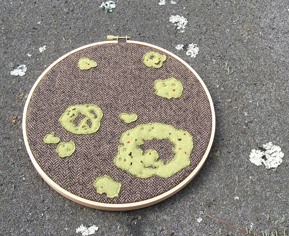 Green and red lichen, fungus, moss fiber art by Chelsea Clarke