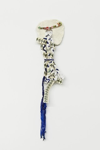 Figurative, Abstract, Colorful, Wrapped Sculpture, wood, furniture, wire, metal, fabric, textiles, fiber, string, art, Brooklyn, Sculpture, Artist, Feminist, Courtney Puckett, Pattern, Recycled; woman, female, drawing, Sculptor, Upstate, New York