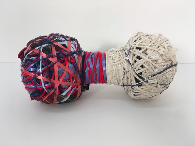 Sculpture, Mixed Media, Found Object, Textile, Fiber Art, Craft, Fabric, Thread, String, Yarn, Wood, Wire, Color, Pattern, Texture, Sewn, Weave, Tapestry, Quilt, Art, Brooklyn, New York, Feminist, Labor-intensive, Woman, Meditative, Wrapped