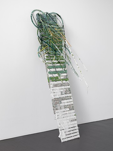 Figurative, Abstract, Colorful, Recycled, Wrapped Sculpture made from wood, furniture, wire, metal, fabric, textiles, fiber, and string is the artwork of Brooklyn Sculptor, Visual Artist and Feminist Courtney Puckett