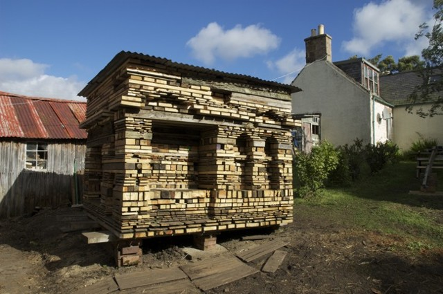 Daniel Seiple, Can't see the trees for the wood, Collaboration with woodcarver, Gavin Smith, at his home in Corgarff, Aberdeenshire, Scotland. Slow Prototypes collaboration series, Scottish Sculpture Workshop, Lumsden Scotland, 2012  After
