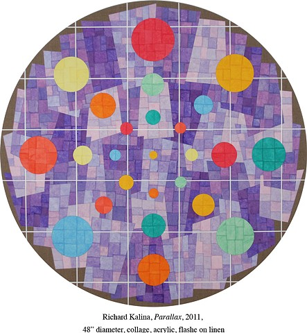 "Richard Kalina, Parallax, 2011, 48"" diameter, collage, acrylic, flashe on linen"