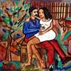 Gabriela abriela sentada no colo de Nacib no quinal     ( Gabriela sits on Nacib's lap)