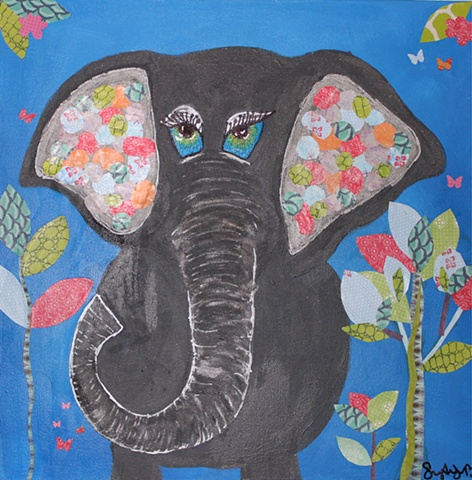 Elephant Ears is an original painting by Suzie Brown, local Dallas artist.  This painting is the perfect decorative piece for a jungle theme nursery or kid's room!