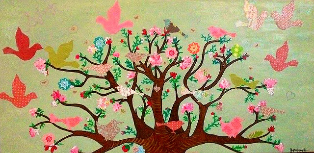 Peaceful Tree is an original mixed media painting on gallery setting wooden canvas.  The tree is a representation of happiness and blissfulness in life shared your family and friends.