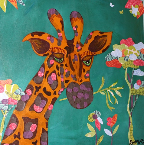 Giraffe Haven is an original painting created by Suzie Brown.  Adorable, fine art for any kid's room or nursery!