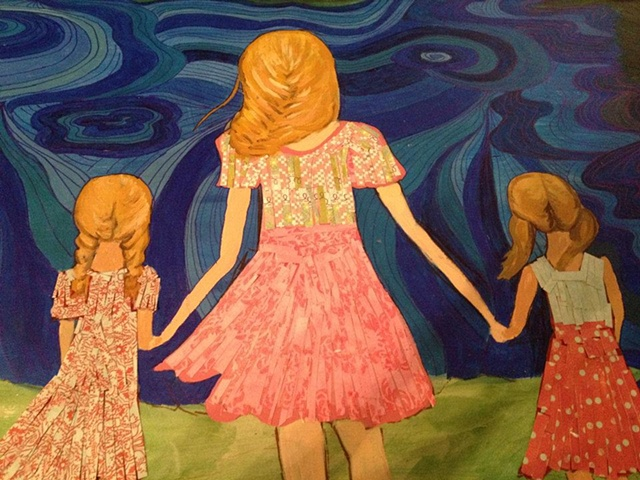 Original mixed media painting on wooden canvas.  This painting was for a child's room.  The dresses are made out of shreddied paper and highlights the imagination of a child