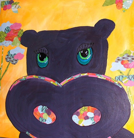 Happy Hippo is an original painting created by Suzie Brown, local Dallas artist.  This mixed media painting is the perfect pop of color for any nursery or kids room!
