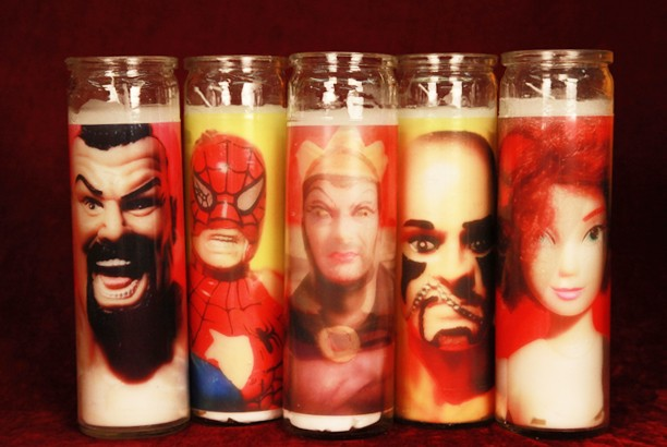 Pink Wrestler, Spidey, Bear Queen, Yellow Wrestler, Stylish Girl Candle