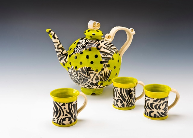 Af tex rounds teapot and cups lime green