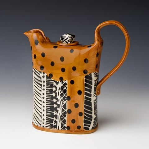 T brown african textile design teapot
