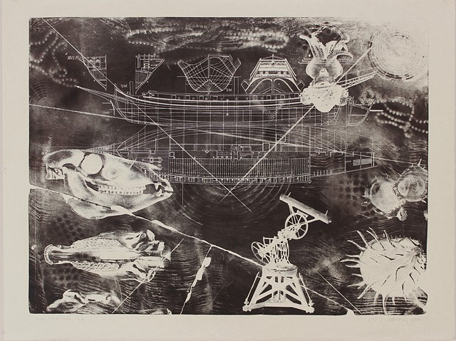 For Chapman, 2016, stone lithograph, printed in the studios at NSCAD University