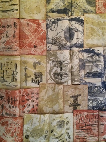Conversations While Adrift, detail of the quilt of antique pages with stone lithographic printing