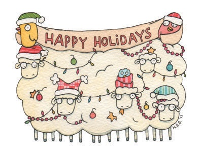 Christmas card, sheep, birds, cartoon, watercolor, fun, colorful, ink, cute
