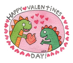 Valentine, dinosaurs, dinos, hearts, cute, pink, watercolor, colorful, kids, fun, ink