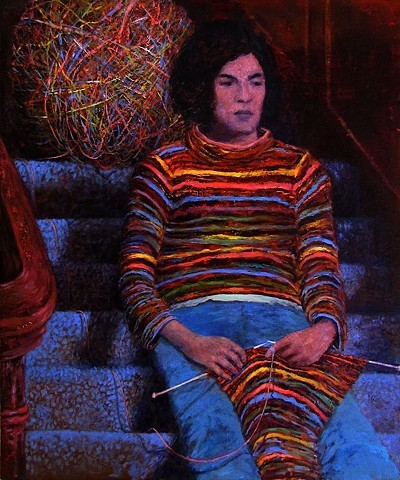Knitting on The Stairs