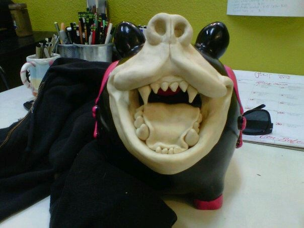 clay sculpt of soon-to-be resin cast mouth piece