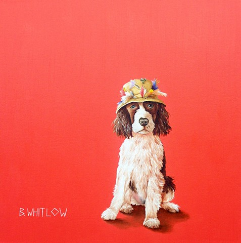 """Most girls prefer spa days and light lunches, but I like to get a little dirt under my nails."" - Midge.  Whimsical spaniel pet portrait by Beth Whitlow"