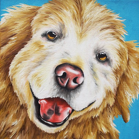 golden retriever whimsical oil painting pet portrait dog portrait
