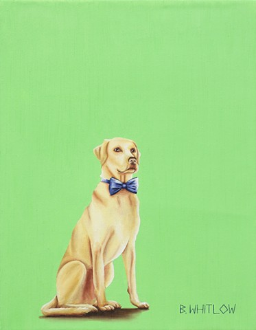 """My dad taught me that there are good bugs and bad bugs in farming.  Not being one to discriminate, I've chased them all."" - Rufus Whimsical Yellow Lab Pet Portrait by Beth Whitlow"