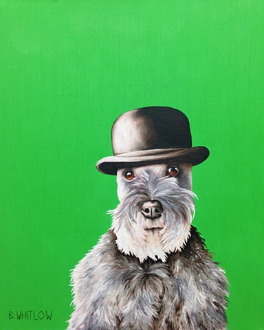 """Nothing can make you feel so guilty, but also so good, as knowing you are someone's favorite."" - Rudy.  Whimsical schnauzer pet portrait by Beth Whitlow"