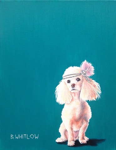 """When you're the most exciting person at the party, it's time to leave."" - Nikki.  Whimsical Poodle Pet Portrait by Beth Whitlow"