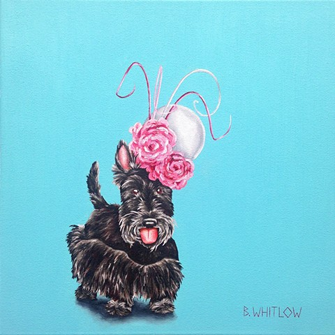"""Beauty as wondrous as mine is almost too great a burden to bear.  Almost."" - Isabella.  Whimsical Scottie Pet Dog Portrait by Beth Whitlow"
