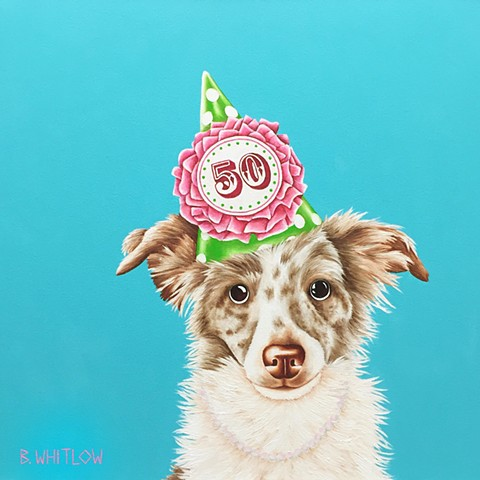 """Pop the bubbly and let's party like Gatsby!"" - Pearl.  Whimsical Australian Shepherd Dog Pet Portrait"