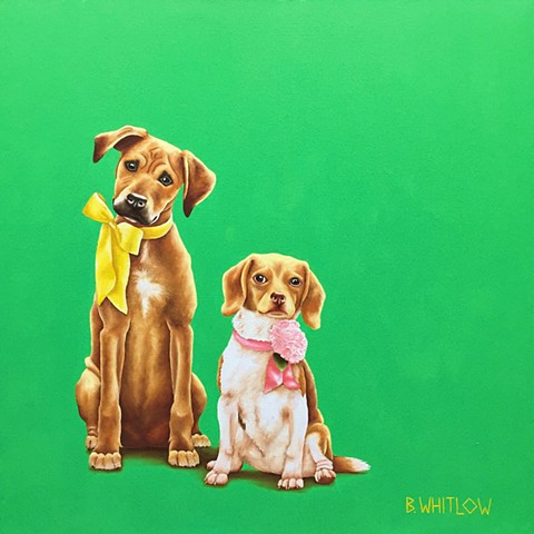 """So...we need to borrow the saw.  No!  It has nothing to do with the squirrel in the tree!"" - Rory and Ella.  Whimsical Beagle Rescue Dog Pet Portrait"
