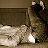 Girl, lying on sofa