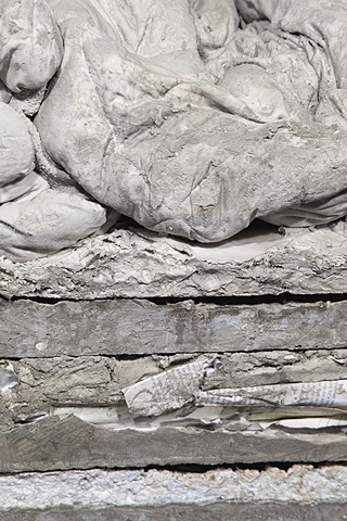 cement stacked sculpture detail, fabric, paper, made by Missy Engelhardt