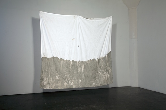 bed sheet, modeled after Richard Serra, cement, fabric sculpture made by missy engelhardt