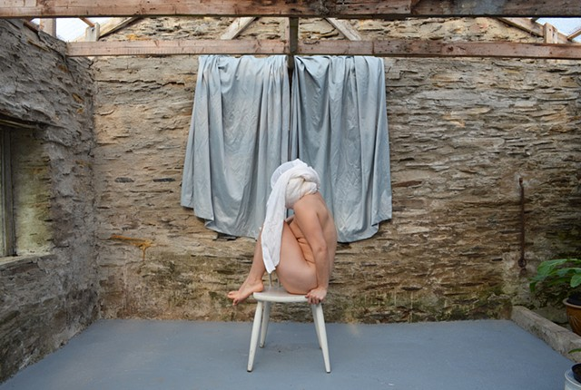 photograph of nude woman drapery faceless stone building curtains Wales by Robyn LeRoy-Evans
