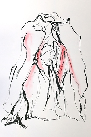 ink red pastel yonic drawing on paper by Robyn LeRoy-Evans