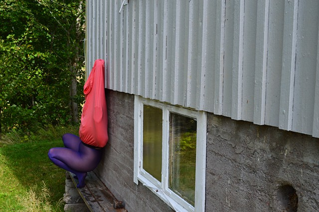 surreal photograph of faceless woman body purple stockings Sweden by Robyn LeRoy-Evans
