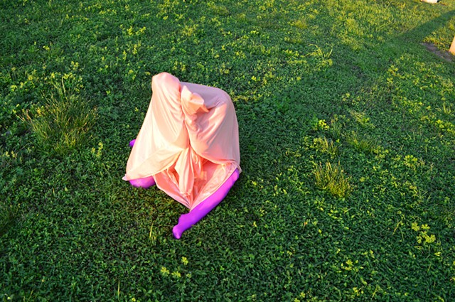 photograph of woman pink drapery purple tights green grass by Robyn LeRoy-Evans