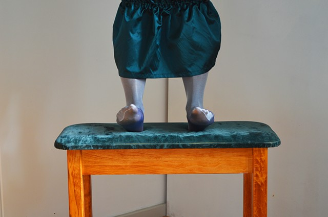photograph of feet emerald green silver fabric studio by Robyn LeRoy-Evans