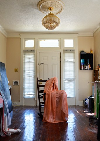 photograph of woman drapery dress chandelier interior house New Orleans by Robyn LeRoy-Evans
