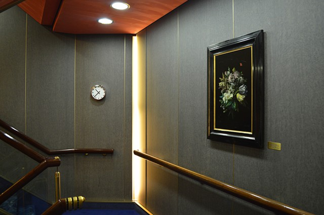 photograph of stairwell clock floral painting cruise ship interior by Robyn LeRoy-Evans