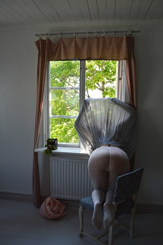 photograph of woman white stockings window surreal erotic by Robyn LeRoy-Evans