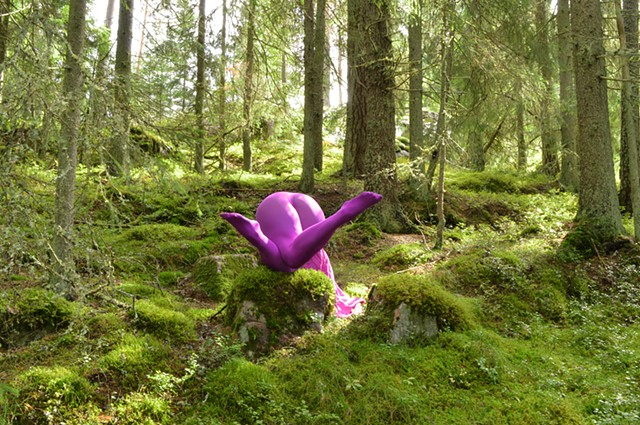 photograph of woman purple stockings green forest Sweden by Robyn LeRoy-Evans